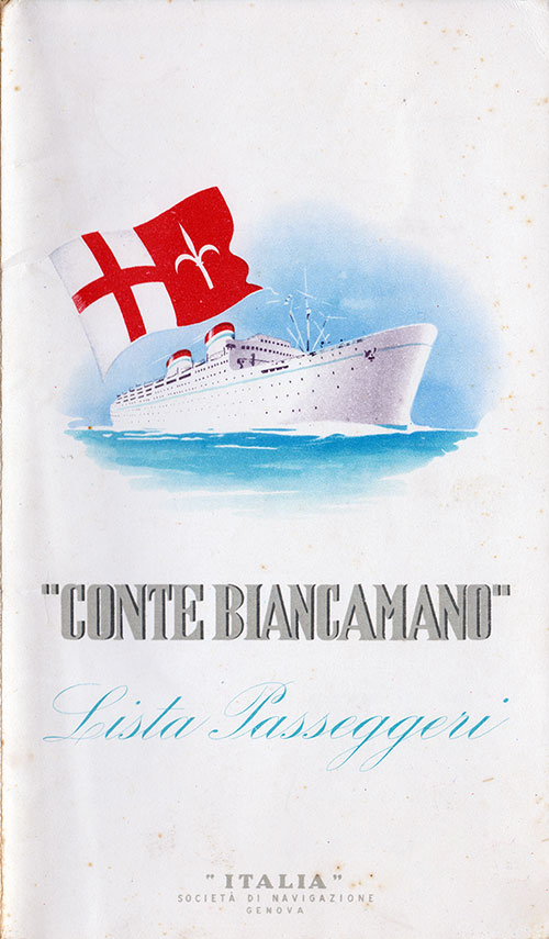 Front Cover - 14 September 1950 Passenger List, SS Conte Biancamano, Italia Line