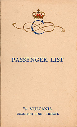 1930-08-19 Ships List for the S.S. Vulcania