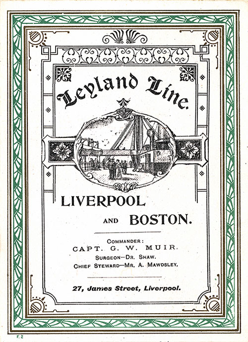 Front Cover, Saloon Passenger List for the SS Hanoverian of the Leyland Line dated 23 August 1902.