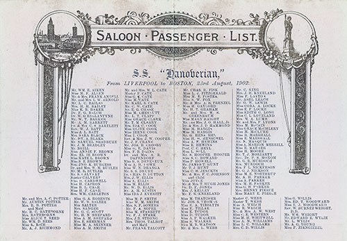 List of Saloon Passengers on the SS Hanoverian of the Leyland Line Departing from Liverpool for Boston on 23 August 1902.