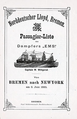 1885-06-03 Ships List for the S.S. Ems