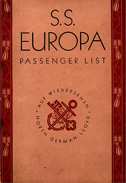 Front Cover, North German Lloyd SS Europa Third Class Passenger List - 5 July 1930.
