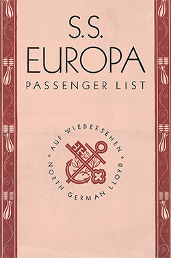 Front Cover, North German Lloyd SS Europa Tourist Class Passenger List - 25 July 1934.