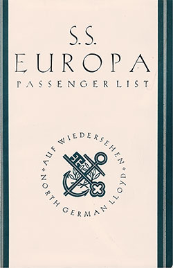 Front Cover, North German Lloyd SS Europa Tourist Class Passenger List - 7 July 1937.