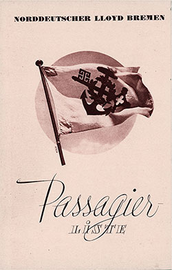 Front Cover, North German Lloyd SS Europa Cabin Class Passenger List - 16 July 1937.