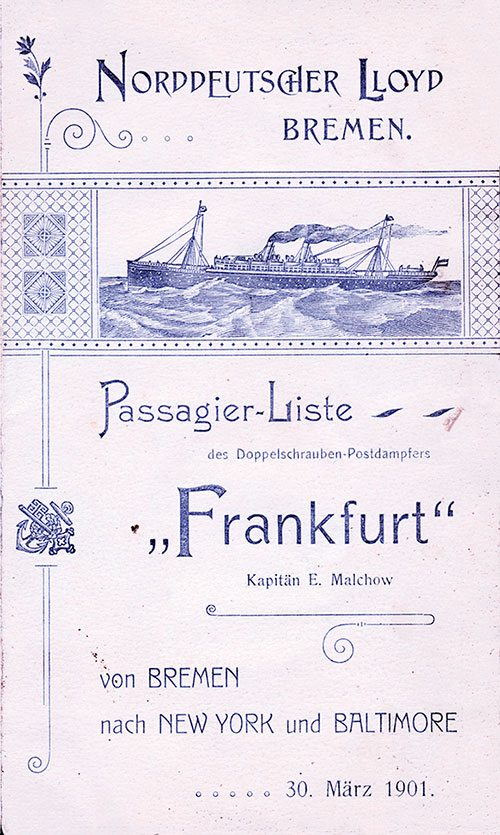 Passenger List, Norddeutscher Lloyd S.S. Frankfurt, 1901, Bremen to New York and Baltimore