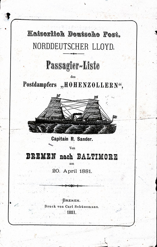 Front Cover, SS Hohenzollern Passenger List - 20 April 1881