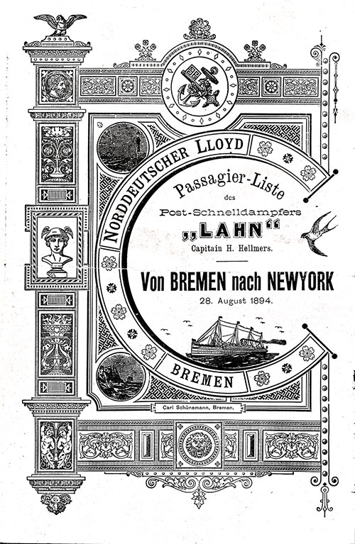 Front Cover, Norddeutscher Lloyd Steerage Class Passenger List from the SS Lahn on 29 August 1894.