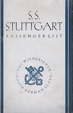 Front Cover, North German Lloyd SS Stuttgart Cabin Class Passenger List - 12 June 1930.