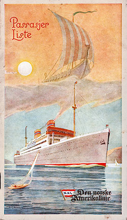 Front Cover, Norwegian-America Line SS Stavangerfjord First, Cabin, and Tourist Class Passenger List - 10 February 1953.
