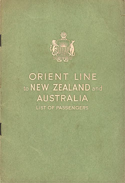 Front Cover, Orient Line SS Orion Tourist Class Passenger List - 8 October 1954.