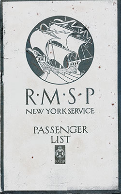 Front Cover, RMSP SS Ohio Cabin Passenger List - 29 August 1923.