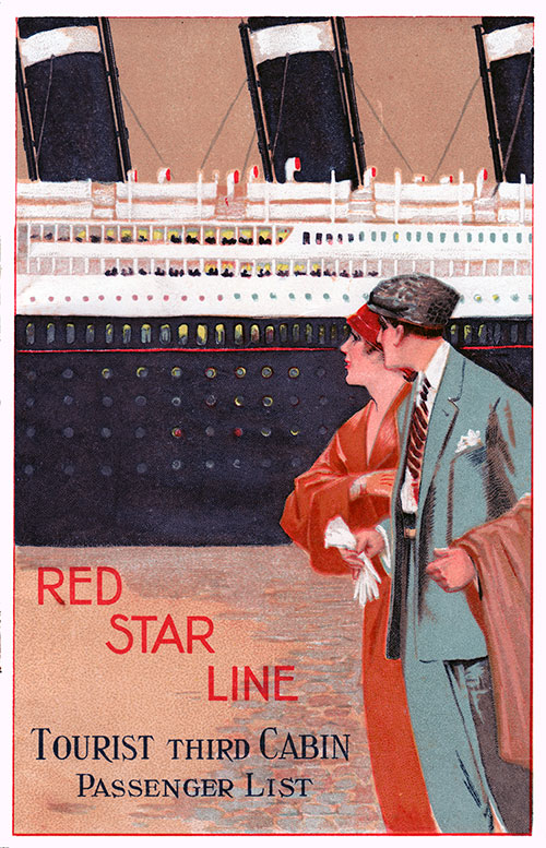 Passenger List, Red Star Line SS Arabic, 1929 - Antwerp to Halifax NS and New York