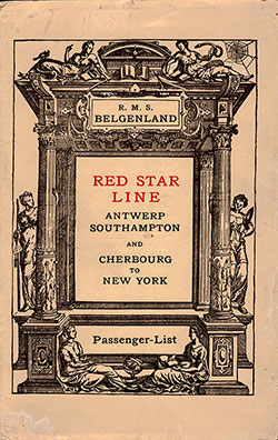 Front Cover -19 July 1924 Passenger List, RMS Belgenland, Red Star Line