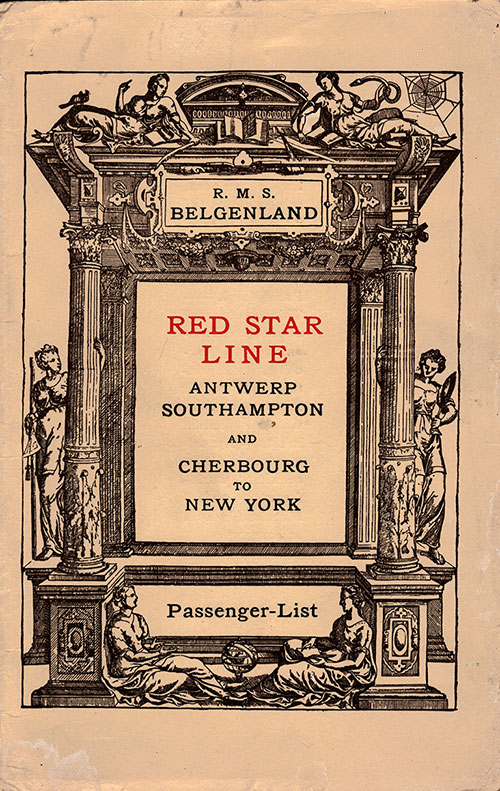Front Cover, Red Star Line RMS Belgenland Cabin Class Passenger List - 19 July 1924.