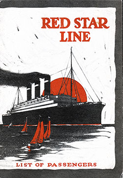 Front Cover, SS Belgenland Passenger List - 26 June 1926