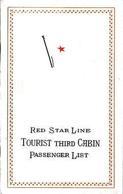 Front Cover, Passenger List, Red Star Line RMS Belgenland, 3 September 1926