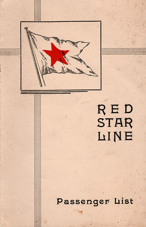 Front Cover, Red Star Line SS Gerolstein Tourist Class Passenger List - 24 September 1938.