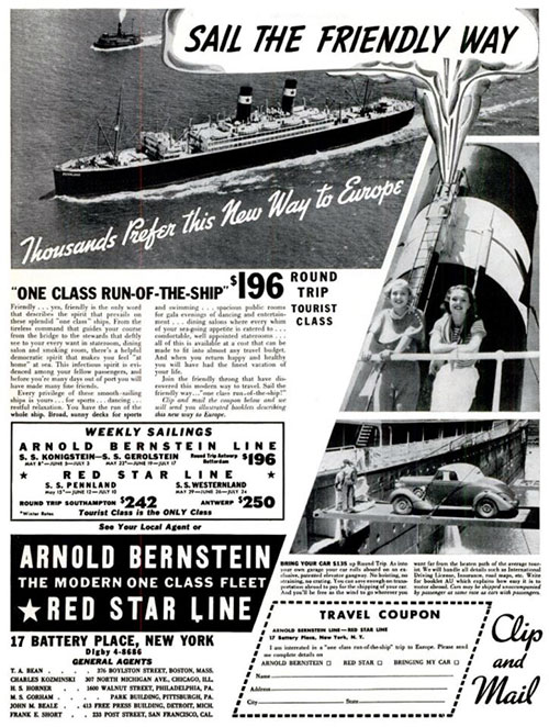 1937 Magazine Ad for the Arnold Bernstein Red Star Line One-Class Ships