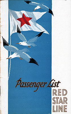 Front Cover, SS Belgenland Passenger List - 31 August 1928