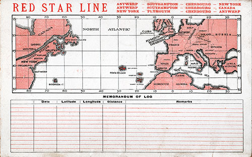 Back Cover and Track Chart - SS Belgenland Passenger List - 31 August 1928