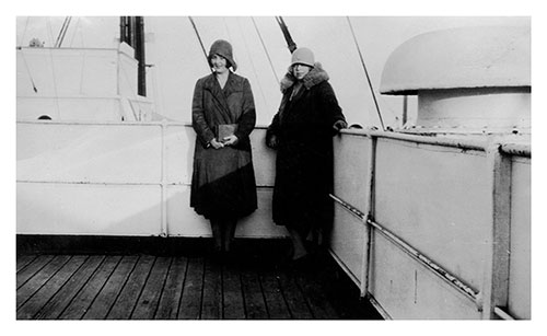 Miss Mulholland and Friend on the Deck of the SS Lapland