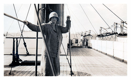 Miss Mulholland on the Deck of the SS Lapland