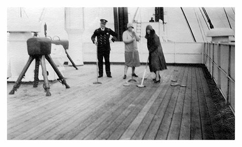 Miss Mulholland and Friend Play Shuffleboard on the Deck of the SS Lapland