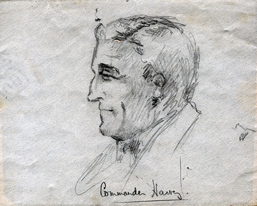 Sketch by Mulholland of Commander H. Harvey of the SS Lapland