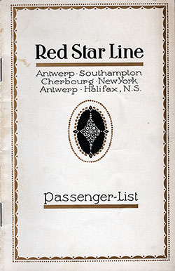 Passenger Manifest, Red Star Line SS Pennland 1926 Antwerp to Halifax and New York