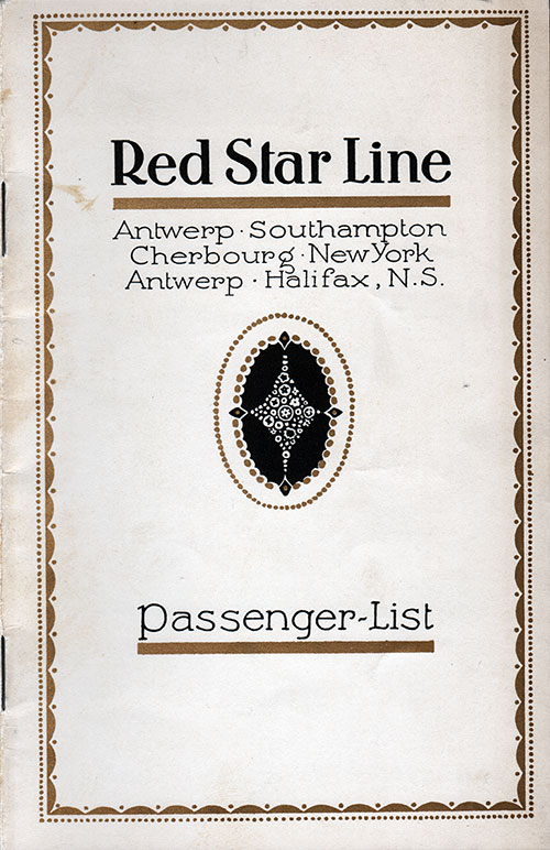 Front Cover, Red Star Line SS Pennland Cabin Class Passenger List - 27 August 1926.