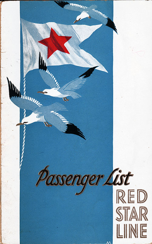 Front Cover, SS Pennland Passenger List - 27 July 1928