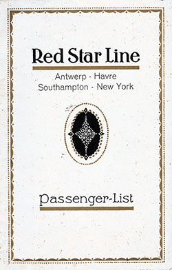 Front Cover, Red Star Line SS Pennland Cabin Class Passenger List - 26 August 1932.