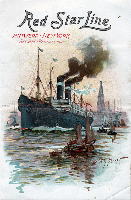 Passenger List, Red Star Line SS Vaderland, 1901, Antwerp to New York (Front Cover)