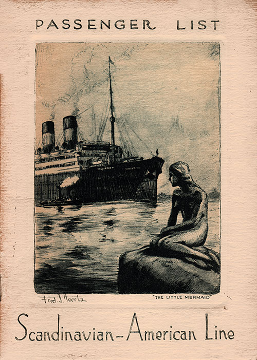 Front Cover, Scandinavian-American Line SS Frederik VIII Cabin and Tourist Third Cabin Passenger List - 29 May 1931.