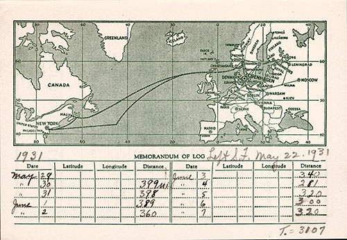 Track Chart, SS Frederik VIII Passenger List - 29 May 1931