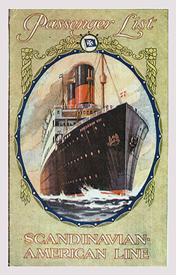 Front Cover, SS Hellig Olav Passenger List - 27 July 1929