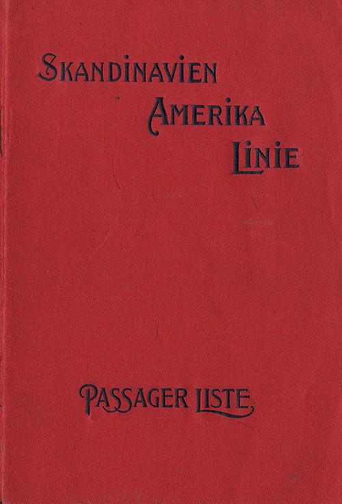 Front Cover, Scandinavian-American Line SS United States Cabin Class Passenger List - 15 May 1924.