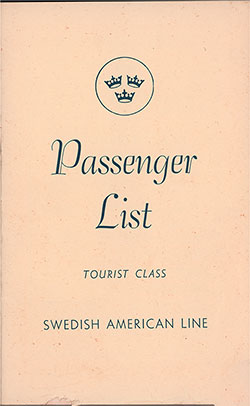 Front Cover, Swedish American Line MS Gripsholm Tourist Passenger List - 17 July 1953.