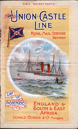 1911-07-15 Ships List for the R.M.S. Walmer Castle