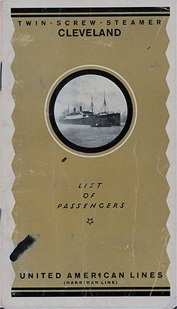 Front Cover, United American Lines SS Cleveland Cabin Class Passenger List - 21 October 1923.