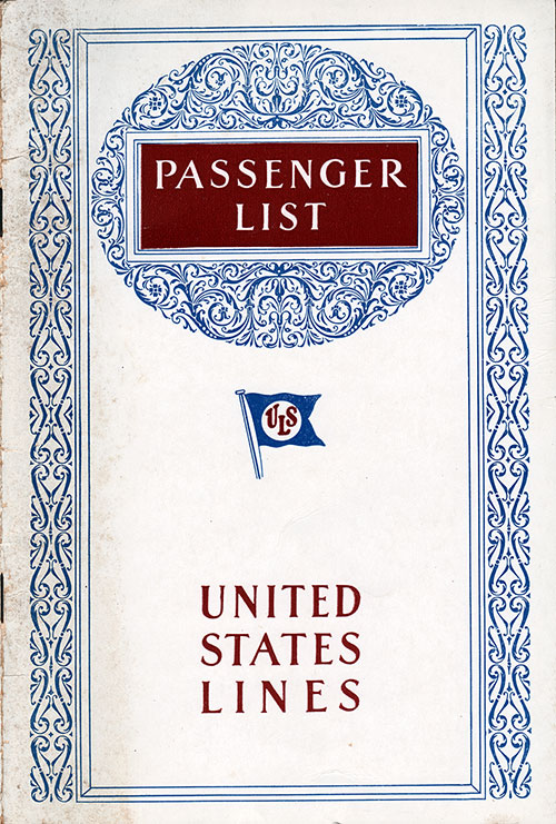 Front Cover, S.S. Leviathan Passenger List 30 March 1929