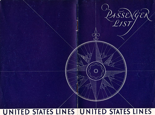 Back and Front Covers, United States Lines SS President Harding Cabin Class Passenger List - 17 September 1930.
