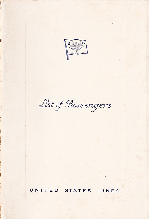 Front Cover of a Cabin Class Passenger List from the SS President Harding of the United States Lines, Departing 14 September 1938 from Hamburg to New York via Le Havre, Southampton, and Cobh