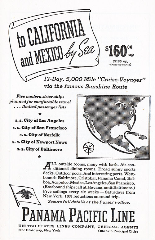 "Panama Pacific Line, a United States Lines Company, Advertisement for a 17-Day, 5,000 Mile ""Cruse-Voyages"" via the Famous Sunshine Route to California and Mexico by Sea"