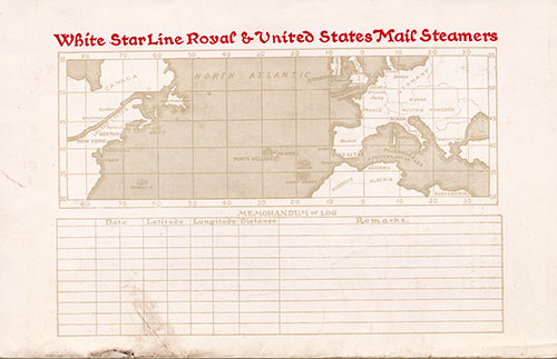 Back Cover, R.M.S. Adriatic Passenger List 14 November 1919