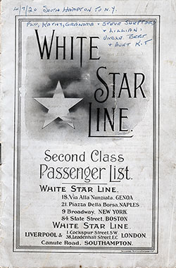 Passenger Manifest, RMS Adriatic, White Star Line, April 1920, Southampton to New York