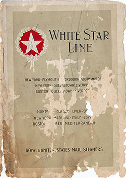 Front Cover, Passenger Manifest, S.S. Adriatic, White Star Line, Eastbound, April 1920