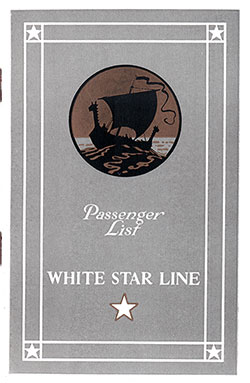 Front Cover, White Star Line RMS Adriatic Cabin Passenger List - 1 June 1929.