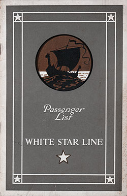 Front Cover, White Star Line RMS Albertic Cabin Class Passenger List - 17 August 1929.